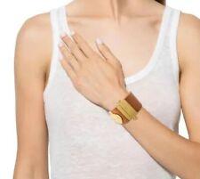 Tory Burch World Travel Tan Leather Canvas Gold Logo Cuff Bracelet