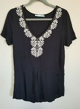 Maurices Women's Black V-Neck Drop Waist Top | Sz L | Embroidered Boho Tunic