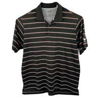 Adidas Climalite Golf Shirt Men's XL red black striped short sleeve Polo Poly
