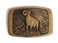 "Vintage Belt Buckle Solid Brass Ram Big Horn Sheep 1978 BTS 3 1/4""L x 2 3/8""W"