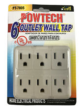 Adapter Wall Tap 6 Outlet 3 Prong Converts 2 Outlets to 6 UL Powtech PT-7805