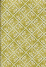 Bohemia Flower Leaves and Acorns Olive Quilt Fabric - Free Shipping - 1 Yard