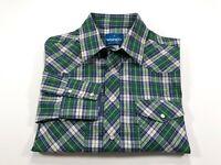 Wrangler Western Pearl Snap Green Plaid Shirt Men's M Medium Cotton Blend