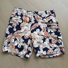 PAUL SMITH Mens Swim Trunks: Blue/Red/Beige Floral  (Size :Large)