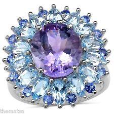 WOMENS STERLING SILVER  AMETHYST BLUE TOPAZ TANZANITE   RING 6 7 8 9