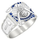 Customizable Men's 0.925 Sterling Silver or Vermeil Past Master Mason Ring