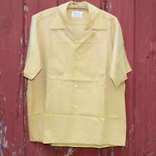 Vtg 60s Penneys Towncraft Button Up Loop Collar Board Shirt Large Yellow Ochre