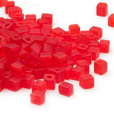 100 MIYUKI CUBE BEADS TRANSPARENT FROSTED RED 4MM