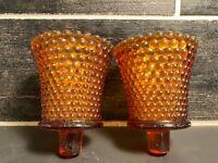 Vintage Amber Hobnail Glass Votive Cup Candle Holder Sconces  Set 2