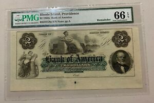 1860s Bank of America, Rhode Island, Providence PMG 66 Selvage Banknote