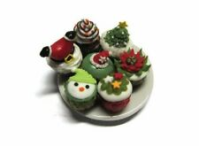 7 Miniature Christmas Cupcakes on Plate Dollhouse Miniatures Food Bakery Deco 1