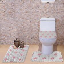 3pcs Non-slip Pedestal Rug Lid Toilet Cover Absorbent Bath Mat Flamingo #3
