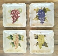 "Tabletops Unlimited 4 Cabernet Rippled Scallop Square 11"" Dinner Plates Grapes"