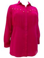 Ladies Blouse Top Plus Size 18 20 22 24 26 28 Pink Fringe Chiffon Shirt    190