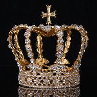 Vintage Pageant Wedding Bridal Crystal Queen King Cross Headband Crown Tiara Hot