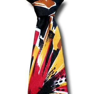 """BRIONI Embossed Silk Tie Bold Multicolor Abstract Gold Chain Italy 59.5 x 3.5"""""""