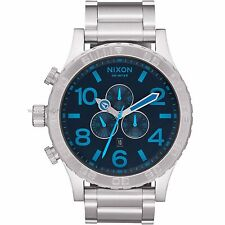 Nixon A083 2219 51-30 Silver with Dark Blue Dial 51mm Men's Chronograph Watch
