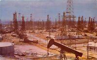 Chrome Postcard CA G051 Cancel 1956 Signal Hill Long Beach Oil Wells Pumps Field