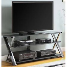 Entertainment Center TV Stand Glass Shelves Black for 65 Inch TVs Media Console