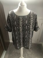 Next Animal Snake Print Sheer Top Blouse Size 12 Grey Black
