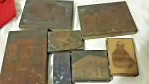 Stamp Copper Printing Wood Block Letterpress Advertising Lot of 7 Person buildin
