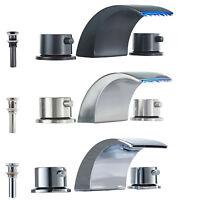 Widespread LED Bathroom Sink Faucet Vanity Two Handles Waterfall Basin Mixer Tap