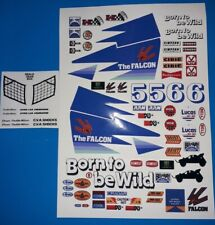 FALCON CUSTOM BLUE STICKERS DECALS WILL FIT MUST 1/10th RC CARS TAMIYA KYOSHO