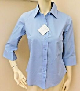 Lady Hathaway Classic Button Down Poplin Blouse 3/4 Sleeve Aqua 3 Colours 3 size