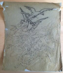 Drawing Mine Lead Per Adolphe Lalire (1848-1933) Angels Ruffle Cherubs