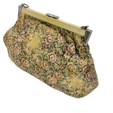 Vintage carpet floral print tan blush pink purse bag