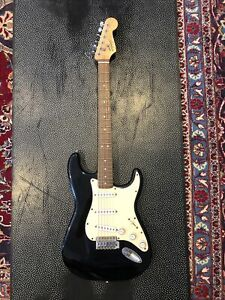 Fender Squier Stratocaster Quality Electric Guitar Black With Cream Plate
