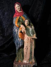 ANCIENNE  SAINTE ANNE  EN FAIENCE MALICORNE  OU AUTRE  ART RELIGIEUX ART SACRE