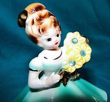 Vintage Josef Originals Birthday Girl Birthstone Figurine March Aquamarine Japan
