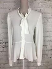 MISS SELFRIDGE White Sheer Long Sleeve Lace Detail Smart Peplum Blouse Size 12