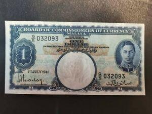 BOCOC Malaya 1941 $1 dollar G5 GEF