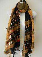 Brown Gold Black Warm Big Pashmina Scarf Shawl Wrap Hijab Cashmere Cotton Blend