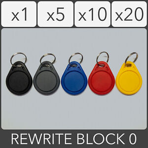 13.56MHz Rewrite Block 0 UID RFID IC Key Fob 1K S50 Proximity ID Tag Keychain