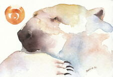 "ACEO Giclee PRINT watercolor 2.5"" x 3.5"" polar bear 'THROUGH THEIR EYES'"