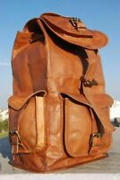 NEW Large Handmade Leather Back Pack Rucksack Travel Bag For Men's and Women's