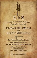 Wedding Invitations Pine Trees & Wood Rustic Country 50 Invitations & RSVP Card