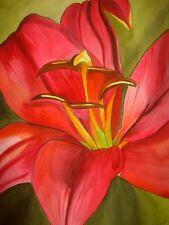 ORIGINAL ART - Red Alert Lily flower watercolour painting by Sacha Grossel Art