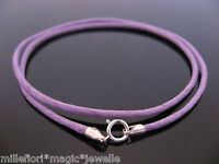 """2mm Purple Waxed Cord & Sterling Silver Necklace 14"""" 16"""" 18"""" 20"""" 22"""" 24"""" 26"""" etc"""