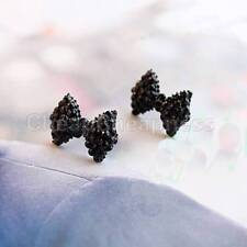 Exquisite 2X Magnetic Bowknot Bow Tie Stud Earring Black Rhinestone Crystal ,'
