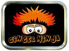 GINGER NINJA  2oz GOLD TOBACCO TIN,BAIT TIN,SEWING TIN,BACCY TIN
