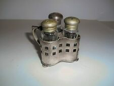 Rare Nickel Silver and Glass 3 piece condiment sets Albert Pick & Co.