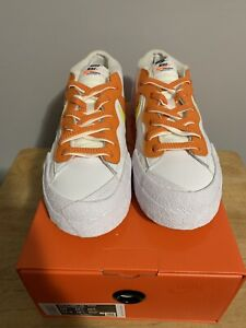 Men's Nike Blazer Low Sacai White/Orange SZ: 10 FREE SHIPPING BEST PRICE