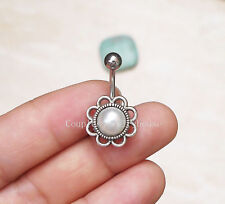 2pcs Flower belly ring Pearl  Navel Piercing Ring belly jewelry  Body Piercing