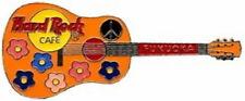 Hard Rock Cafe FUKUOKA 2000 ACOUSTIC GUITAR PIN Flowers & Peace - HRC #2498