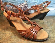 NATURALIZER Slingback Sandal Wedge Heel Brown Strappy 8M SANDIE 73666