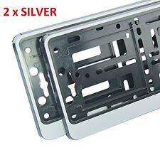"2 x ""SILVER"" EFFECT NUMBER PLATE HOLDER SURROUND CAR - ABS PC Plastic"